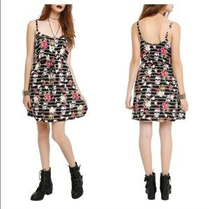Hot Topic striped floral skull fit & flare dress